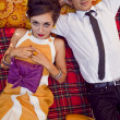 Fashion portrait of retro sixties style young couple - ストック写真