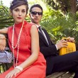 Fashion portrait of retro sixties style young couple — Stock Photo #13764517