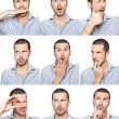Young man face expressions composite isolated on white background — Stock Photo
