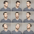 Series of young man's funny portrait looking to each other — Stock Photo #13764587