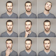 Young man face expressions composite isolated on grey background — Stock Photo #13764591