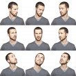 Series of young man's funny portrait looking to each other — Stock Photo #13764598