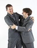 Two businessmen happy seeing each other isolated on white — Stock Photo