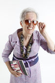 Fashionable granny with handbag klatch — Stock Photo