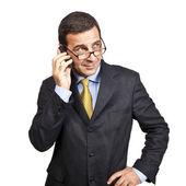 Ritratto di uomo d'affari sicuri, parlando al telefono — Foto Stock