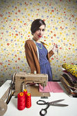 Vintage tailor dressmaker, old fashion style — Stock Photo