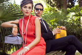 Fashion portrait of retro sixties style young couple — Stock Photo