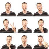 Mladý muž tvář složené výrazy izolovaných na bílém pozadí — Stock fotografie