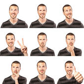 Young man face expressions composite isolated on white background — Foto Stock