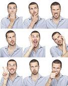 Beyaz arka plan üzerinde izole genç adam yüz ifadeleri kompozit — Stok fotoğraf