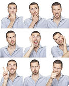 Young man face expressions composite isolated on white background — Stok fotoğraf