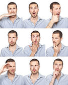 Young man face expressions composite isolated on white background — ストック写真