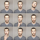 Young man face expressions composite isolated on grey background — Stock Photo