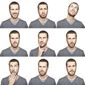 Młody człowiek twarz wyrażenia kompozytowe na białym tle — Zdjęcie stockowe