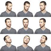 Serie de divertido retrato de hombre joven mirando el uno al otro — Foto de Stock