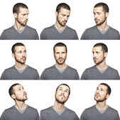 Series of young man's funny portrait looking to each other — Photo