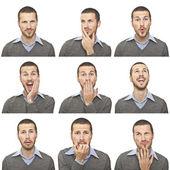 Composito di espressioni viso giovane isolato su sfondo bianco — Foto Stock