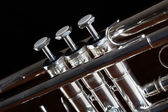 Nice trumpet on black background — Stock Photo