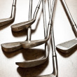 Golf club on wooden background — Stock Photo