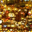 Turkish lamps at the bazaar in istanbul - Stock Photo