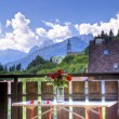 Mountain village in summer view from balcony — Stock Photo