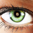 Girl's green eye close up with fire reflected green eye close u — Stock Photo #14000322