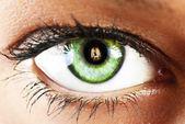 Girl's green eye close up with fire reflected green eye close u — Stock Photo