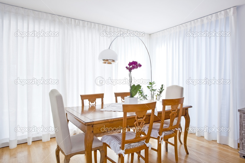 modern dining room with white curtains stock photo tommasolizzul 14001887. Black Bedroom Furniture Sets. Home Design Ideas