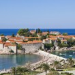 The landscape of Sveti Stefan island-resort, Montenegro - Stock Photo