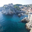 Dubrovnick old walls on the sea, croatia — Stock Photo