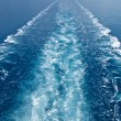 Wake in the ocean made by cruise ship - Foto Stock