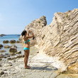 Sea rocks, rocky beach in croatia — Stock Photo