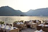 Luxury restaurant on the sea in kotor bay — Stock Photo