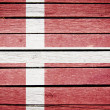 Denmark, danish flag painted on old wood plank background — Stock Photo