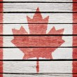 Royalty-Free Stock Photo: Canadian flag painted on old wood plak background