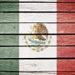 Mexico, mexican flag painted on old wood plank background — Stock Photo