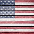 USA, American flag painted on old wood plank background - Stock Photo