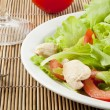Fresh salad with chicken and tomatoes — Stock Photo