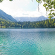 Beautiful panoramic view of fusine mountain lake, italy - Stock Photo