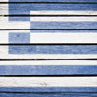 Greece, greek  flag painted on old wood plank background — Stock Photo
