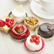 Different sort of beautiful pastry, small colorful sweet cakes — Stock Photo #14538581