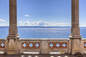 Balcony on the sea in miramare castle trieste — Stock Photo