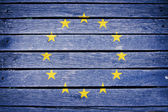 Europe, european flag painted on old wood plank background — Stock Photo