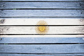 Argentina, argentine flag painted on old wood plank background — Stock Photo