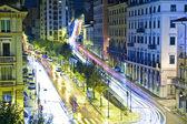 City's traffic lights at night — Stockfoto