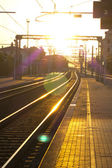 Train station in the sunset — Stock Photo