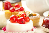 Small beautiful red fruit pastry — Stock Photo