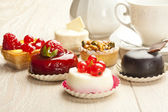Different sort of beautiful pastry, small colorful sweet cakes — 图库照片