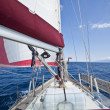 Sailing boat pictured from on board — Stock Photo