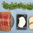 Prosciutto and mozzarella sandwich ingredients - Stock Photo